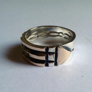 Anel Atlante 925 - Prata e Ouro 12K A